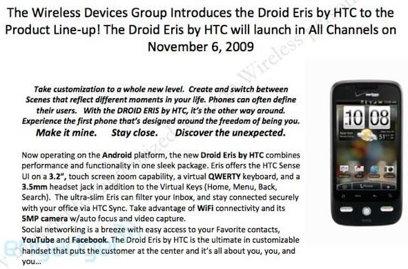 Leaked docs show HTC's DROID Eris launching on November 6th for $99, running Android 1.5
