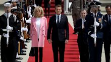Brigitte Macron, first lady of France, is pretty in pink