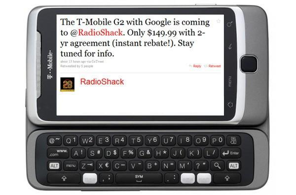 T-Mobile G2 gets $150 price tag at Radio Shack