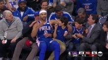 Jerryd Bayless crashed into a young Philadelphia 76ers fan and made his day