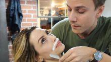 Actress shares photo of her boyfriend shaving her upper lip