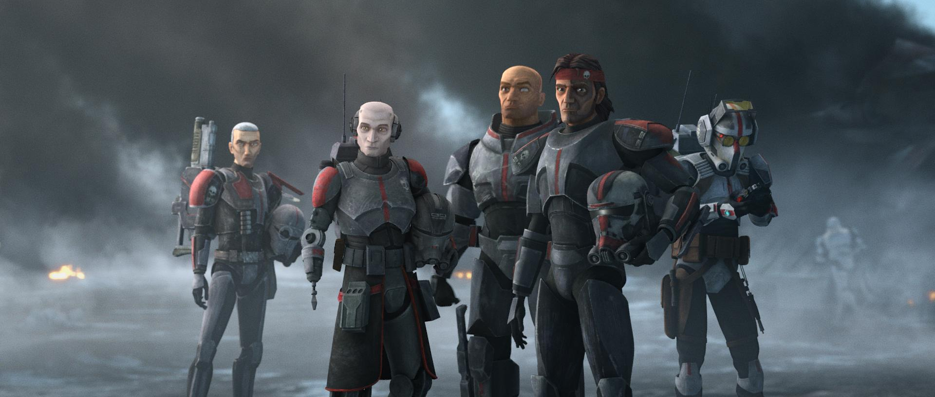 The cast of the Bad Batch: Crosshair, Echo, Wrecker, Hunter and Tech