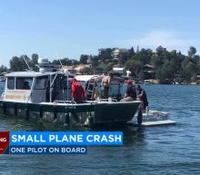 Small plane hits power lines, crashes in California lake