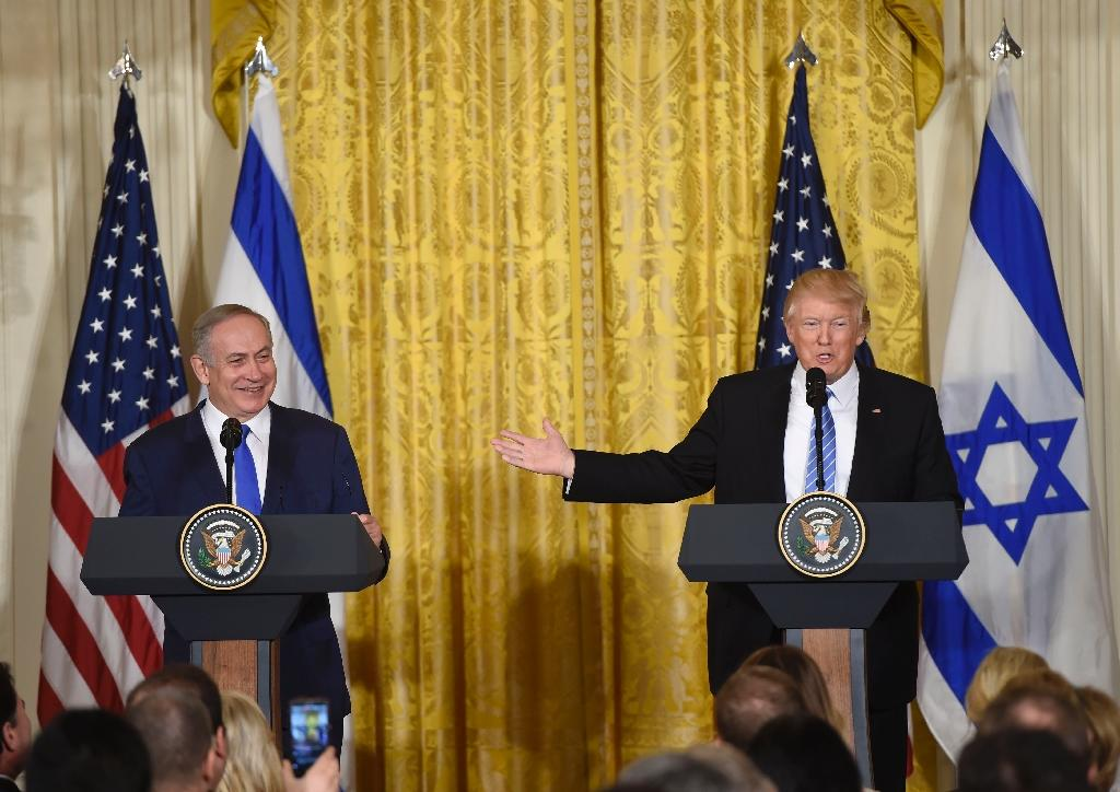 US President Donald Trump and Israeli Prime Minister Benjamin Netanyahu hold a joint press conference in the East Room of the White House in Washington, DC, February 15, 2017