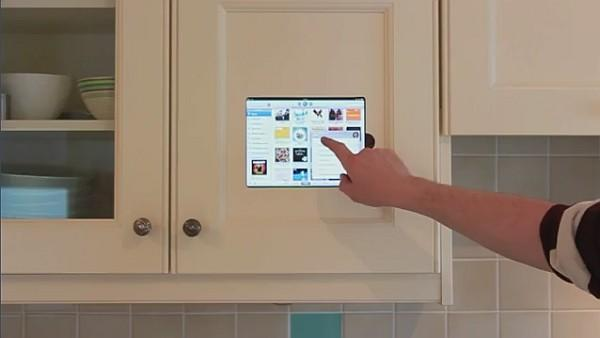iPad merges with kitchen cabinet, sacrificing portability for utility