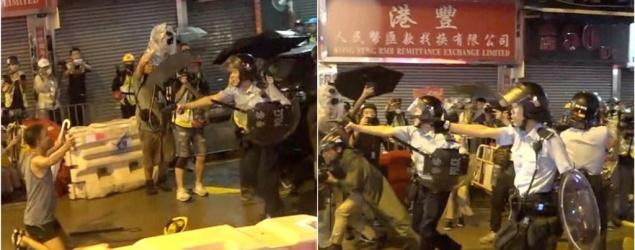 【荃葵青遊行】示威者眾安街與警員對打 警向天開槍示警