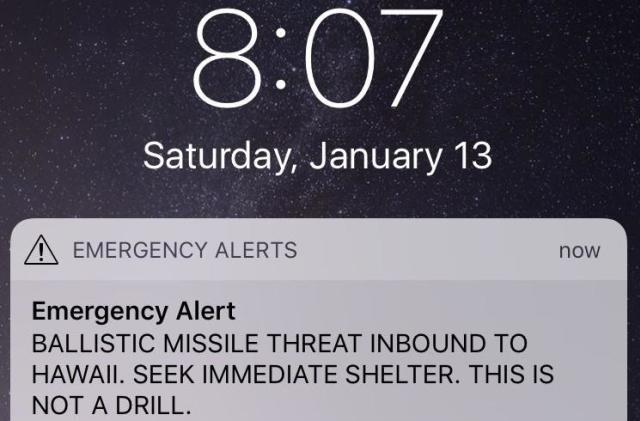False alarm: Emergency alert in Hawaii claims 'missile inbound'
