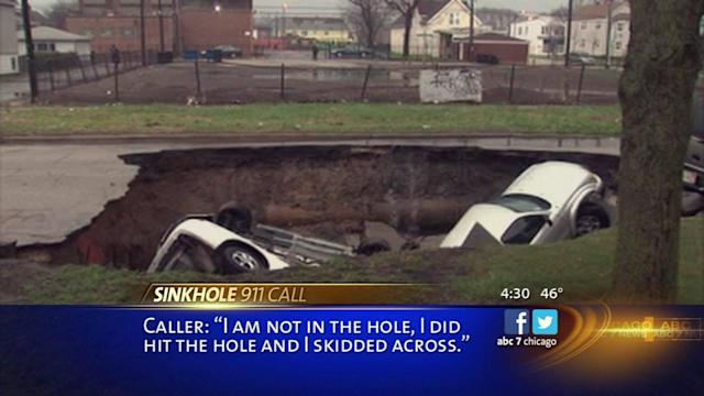 911 call describes moment sinkhole swallowed car