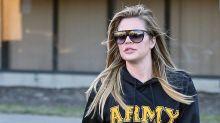 Khloe Kardashian Covers Up in Baggy Sweatshirt