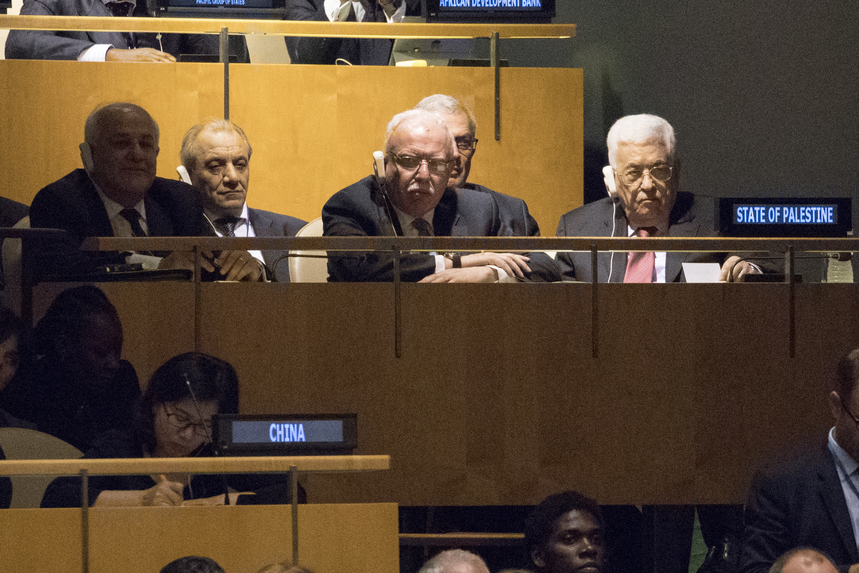 <p>Palestinian President Mahmoud Abbas, right, listens as President Trump speaks during the 72nd session of the United Nations General Assembly at U.N. headquarters, Tuesday, Sept. 19, 2017. (Photo: Mary Altaffer/AP) </p>