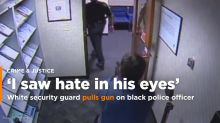 White security guard pulls gun on black officer in uniform