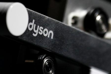 Dyson logo is seen on one of company's products presented during an event in Beijing