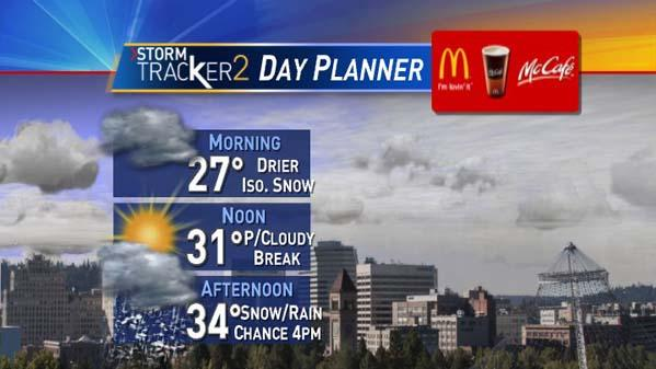 Dry start with rain/snow mix expected this evening