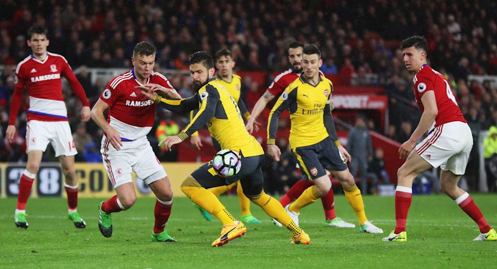 Arsenal players vs Middlesbrough in the game at the Riverside