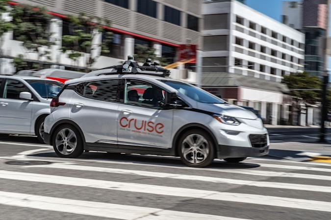 02 May 2019, US, San Francisco: A self-propelled car of the General Motors company Cruise is on a test drive in downtown San Francisco. Photo: Andrej Sokolow/dpa (Photo by Andrej Sokolow/picture alliance via Getty Images)