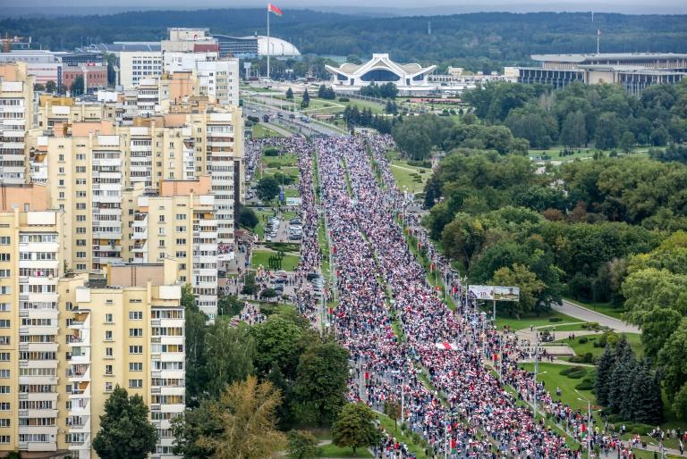More than 100,000 people are estimated to have taken to the streets of the Belarusian capital Minsk over the past four weekends
