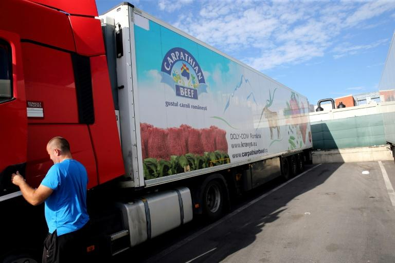 A truck at the meat processing plant Westvlees in Westrozebeke, Belgium after several employees tested positive for the coronavirus. One of Belgium's biggest meat processing plants has sent 225 staff home to quarantine. (AFP Photo/François WALSCHAERTS)