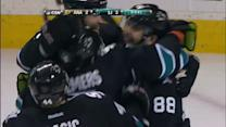 Brent Burns deflects in the late winner