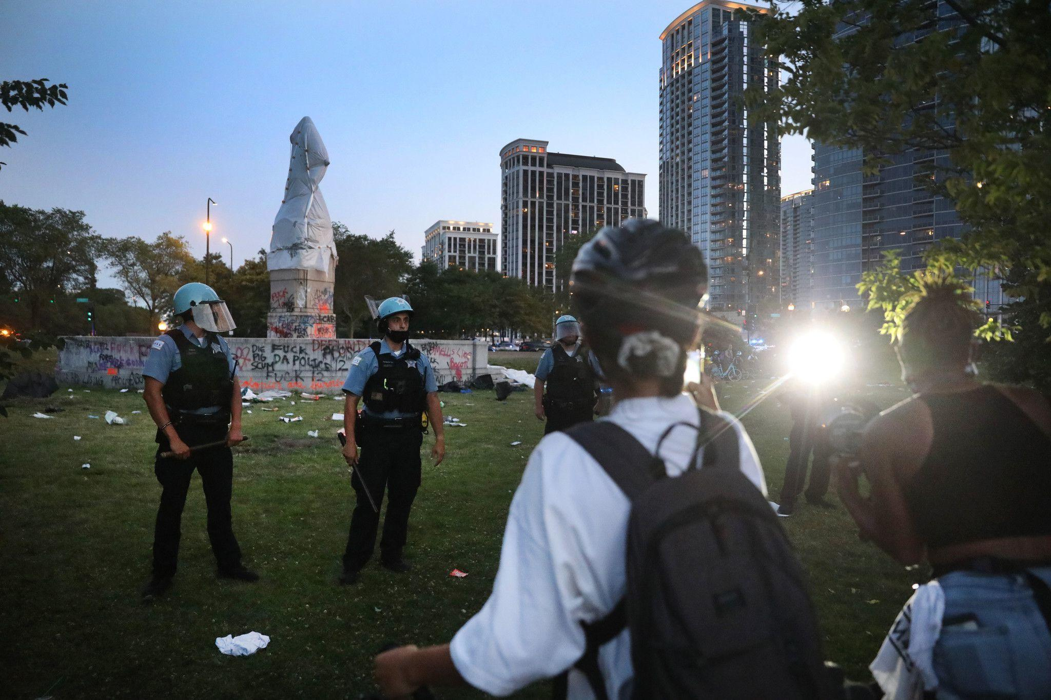 Police say attacks on officers at Grant Park protest appeared organized, top cop says officers will wear full protective gear