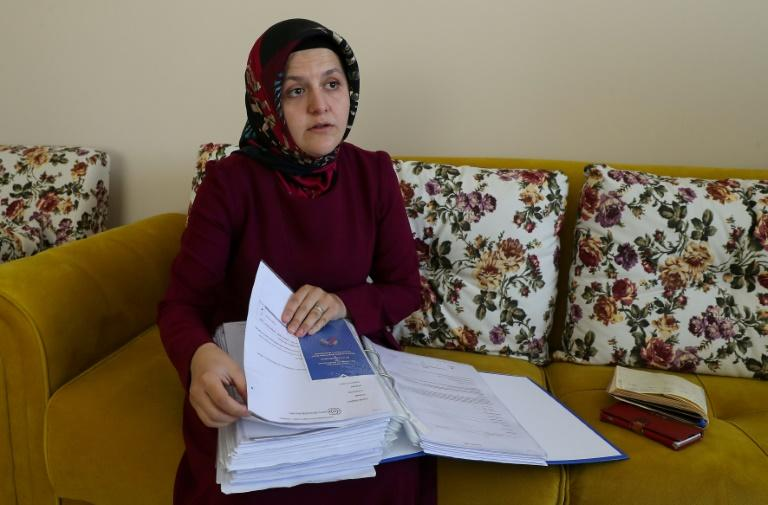 Sumeyye Yilmaz believes her husband, Mustafa Yilmaz, has been abducted and fears he may be being tortured (AFP Photo/Adem ALTAN)