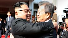 North Korea's Kim Jong-Un And South Korea's President Moon Jae-in Embrace At Border In Surprise Meeting