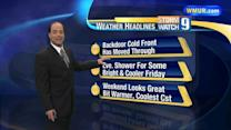 Temperatures fall as cold front moves through