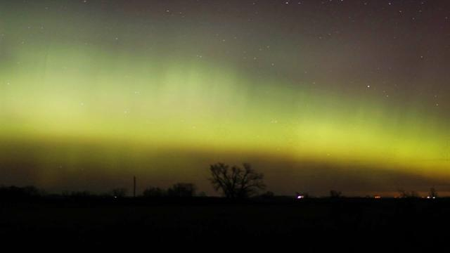 Time-lapse of aurora borealis over Minnesota