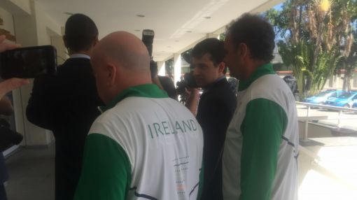 OCI'S Kevin Kilty and Stephen Martin wear Team Ireland kits to give statements to Rio police