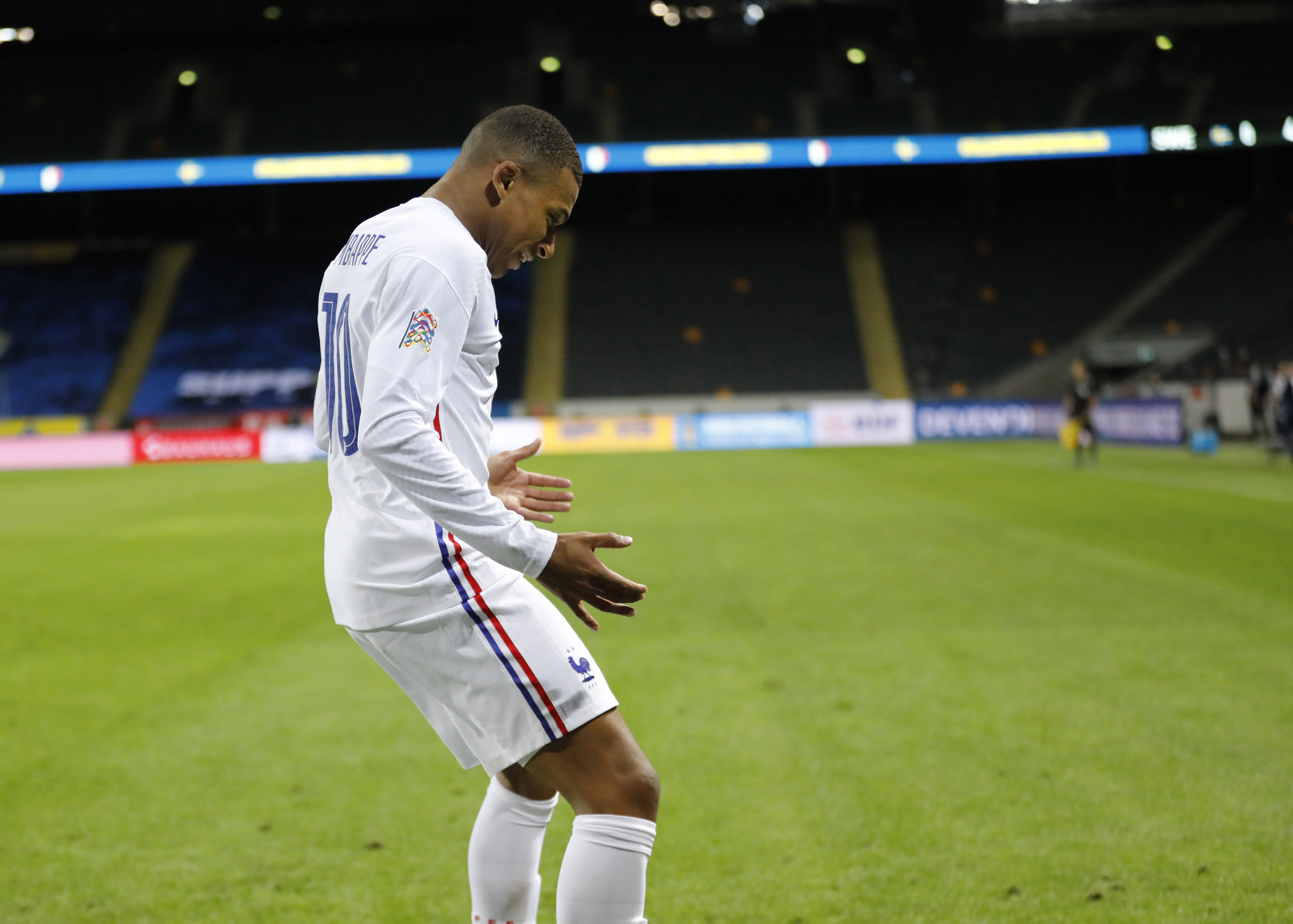 France's Kylian Mbappe celebrates his goal during the UEFA Nations League soccer match between Sweden and France at Friends Arena, Saturday, Sept. 5, 2020, in Stockholm, Sweden. (Christine Olsson/TT via AP)