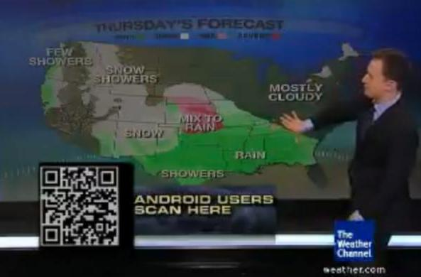 Weather Channel distributes Android app via on-screen QR code