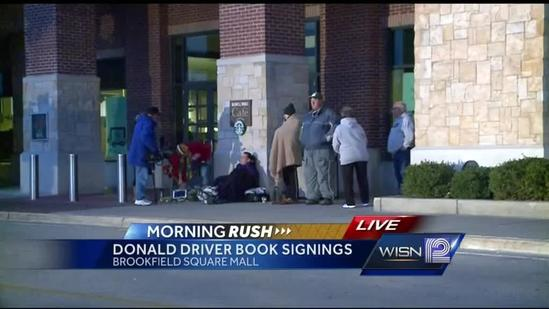People camping out for Donald Driver signatures