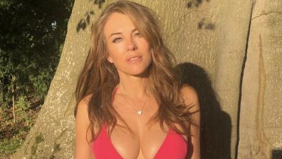 Elizabeth Hurley, 54, clings on to British summer in denim cut-offs and bikini top