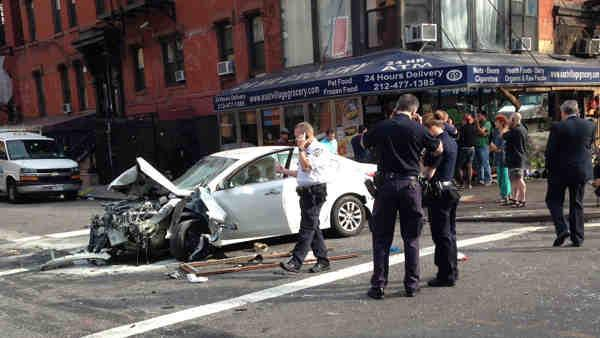 8 hurt, some seriously, when car jumps curb in NYC