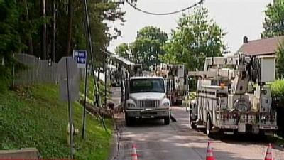 Garbage Truck Crash Takes Down Power Lines