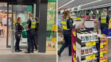 Police officers' touching act for homeless man outside Woolworths