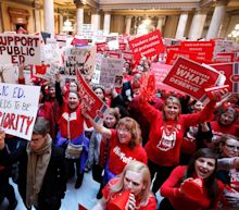 Half of Indiana's school districts close, thousands of teachers demand better pay on Red for Ed Action Day