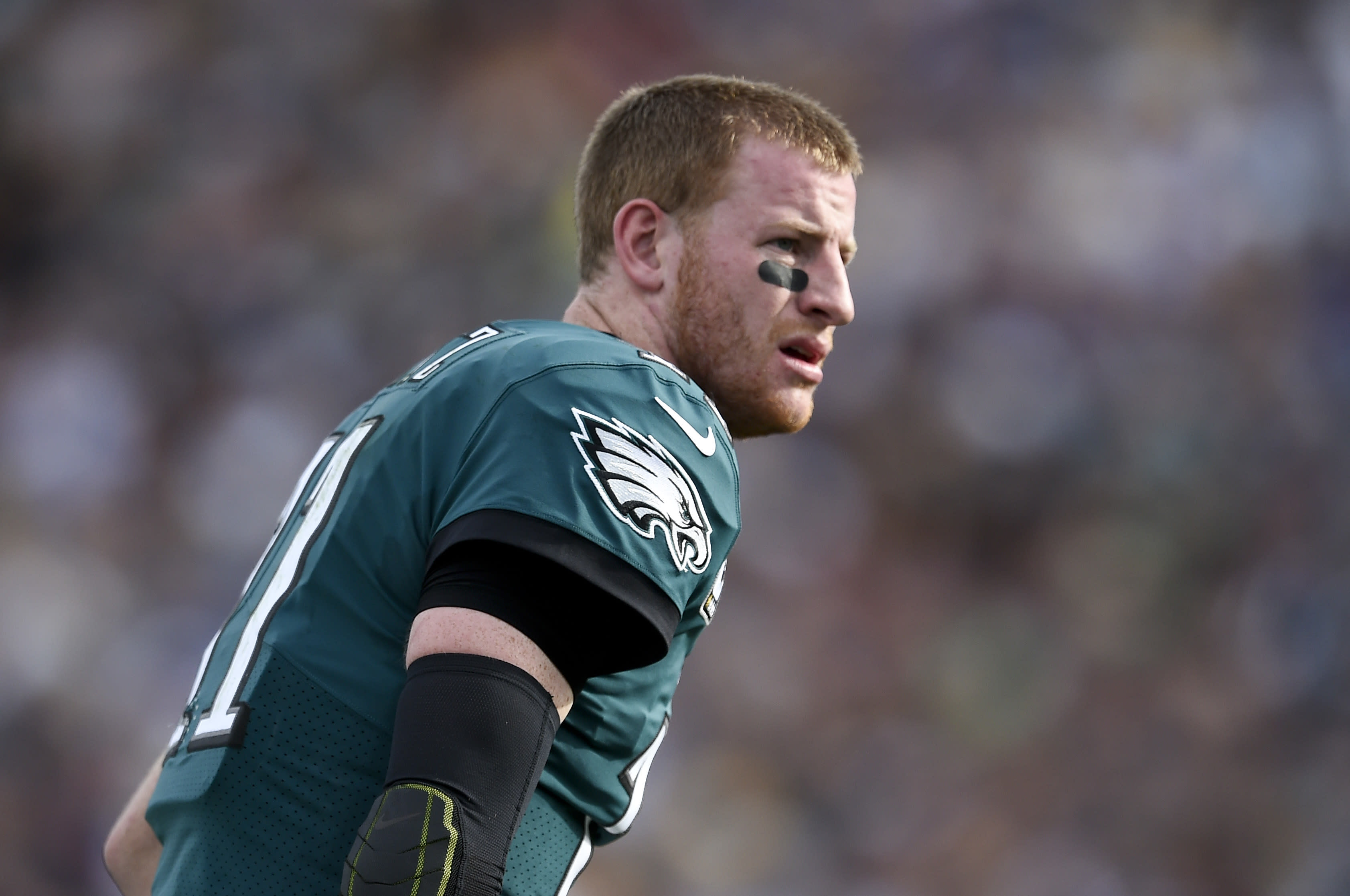 Carson Wentz in good spirits as he ribs Lane Johnson for penalty on play he got hurt