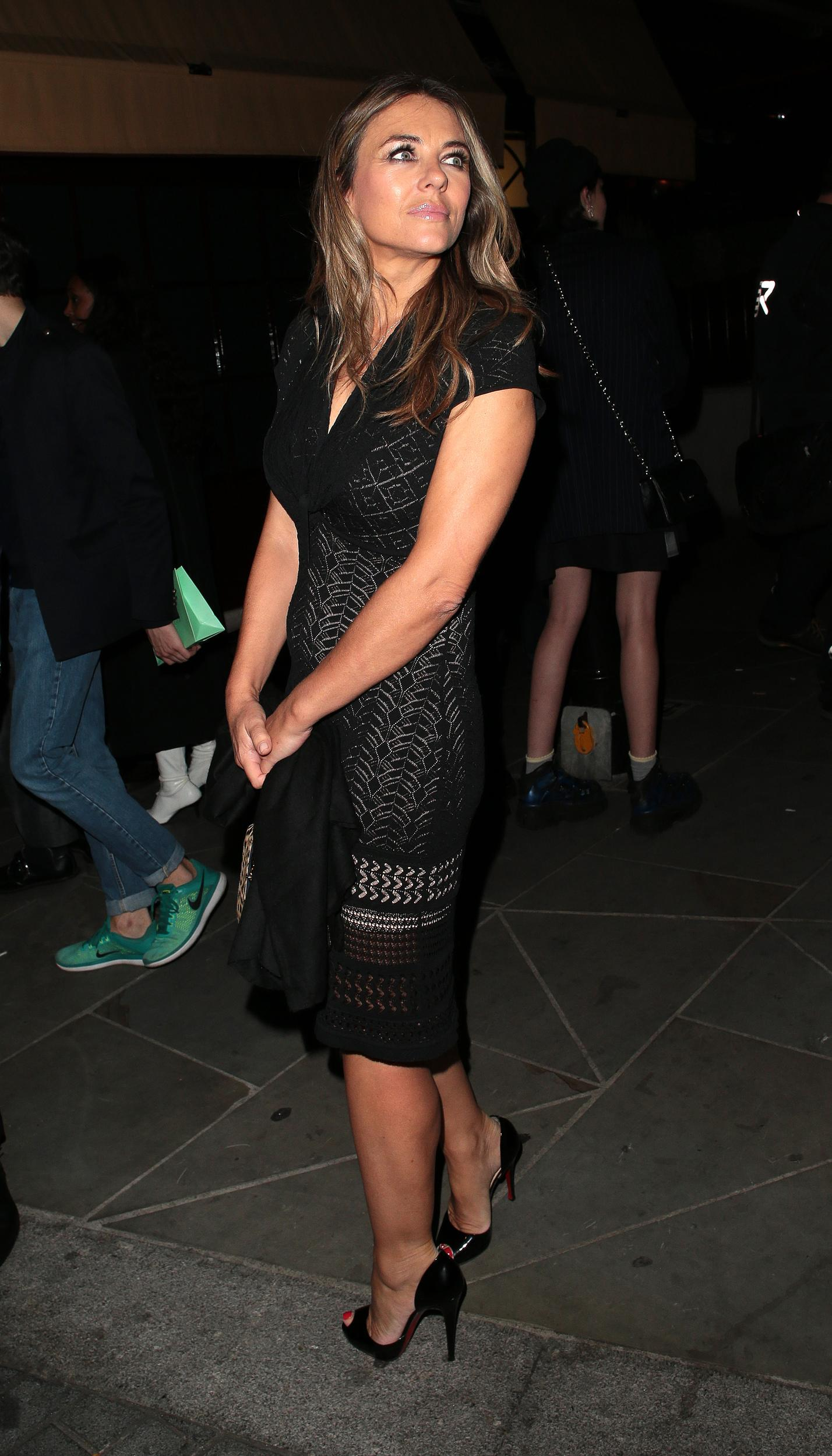 LONDON, ENGLAND - SEPTEMBER 17: Elizabeth Hurley seen attending LOVE Magazine party at No 5 Hertford Street (Loulou's) during London Fashion Week September 2018 on September 17, 2018 in London, England. (Photo by Ricky Vigil/GC Images)