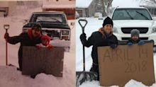 Family goes viral for April snowstorm photos taken 35 years apart