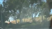 Brush Fire Closes Interstate Highway in Los Angeles