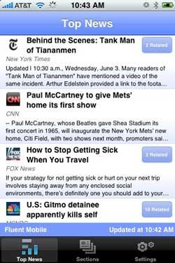 Fluent Mobile releases the first news aggregator iPhone app