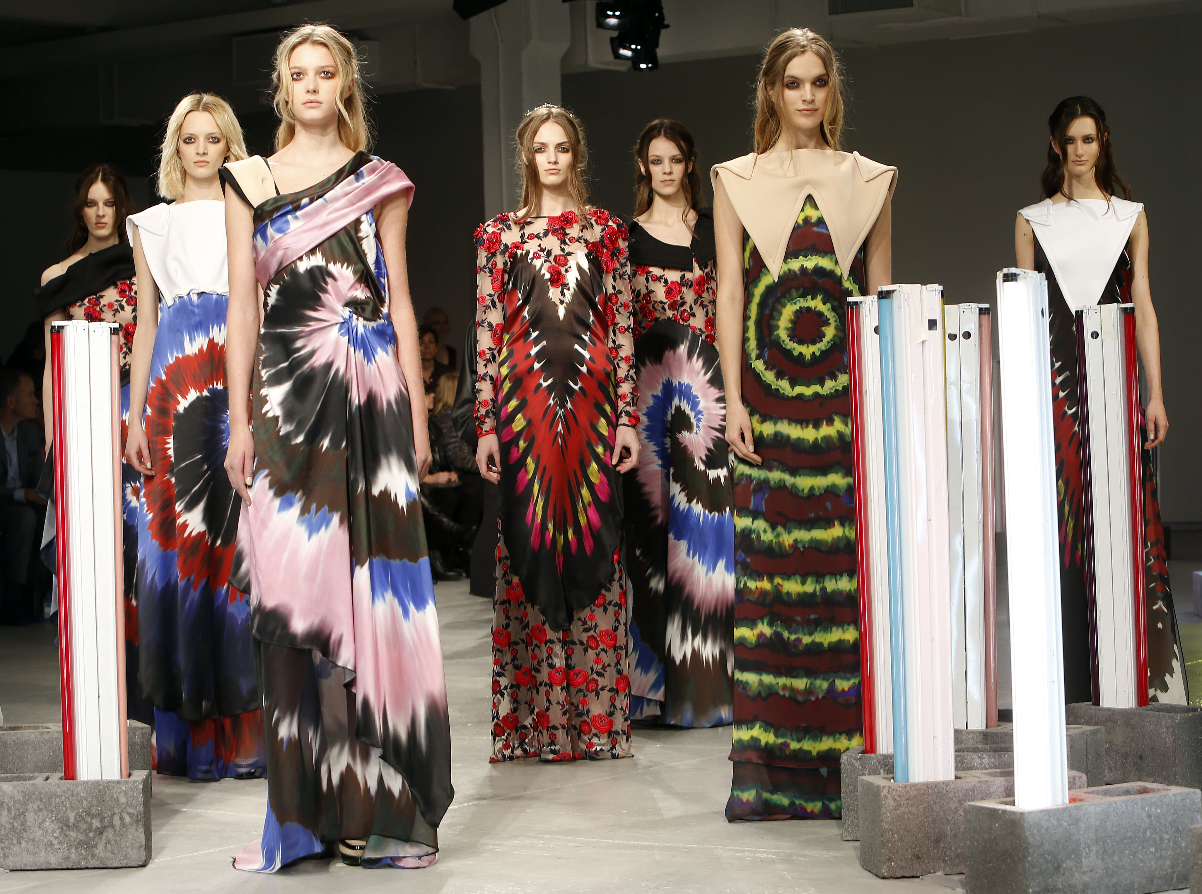 The Rodarte Fall 2013 collection is modeled during Fashion Week, Tuesday, Feb. 12, 2013 in New York. (AP Photo/Jason DeCrow)