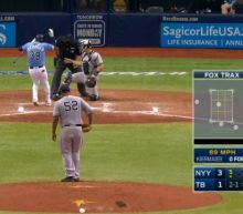 Kevin Kiermaier hits a foul ball that he cannot escape