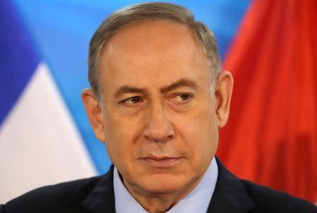 Israeli Prime Minister Benjamin Netanyahu looks on in Jerusalem