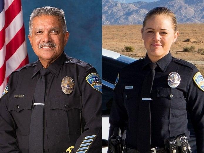 """From left: Palm Springs Police Officers Jose Gilbert """"Gil"""" Vega and Lesley Zerebny, both killed in the line of duty on Oct. 8, 2016."""