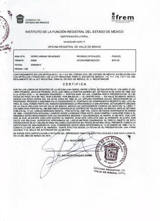 A Mexican public registry document dated March 23, 2015 and obtained by Reuters details how Mexico's President Enrique Pena Nieto purchased a property in Valle de Bravo in 1988 from a third party and paid 11.2 million pesos at the time. REUTERS/Mexican National Registry Handout via Reuters