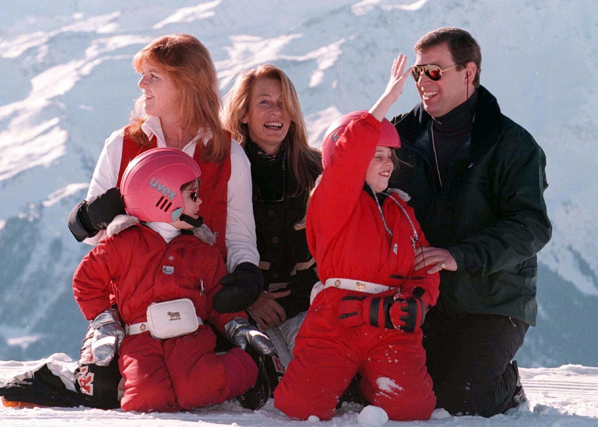 Library file, dated 22/2/97.The Duke and Duchess of York, with their  children Princess's Beatrice (right) and Eugenie, and the mother of the Duchess, Susan Barrantes, during a skiing trip in the Swiss resort of Verbier:  It was announced today (Sunday) that Susan Barrantes has been killed in a car crash in Argentina. See PA story DEATH Barrantes. PHOTOGRAPH BY JOHN STILLWELL/PA.