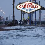 Las Vegas gets rare snow for 2nd time in less than a week, could see up to 3 inches