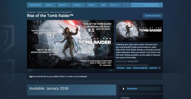 'Rise of the Tomb Raider' hits PC in January, Steam says