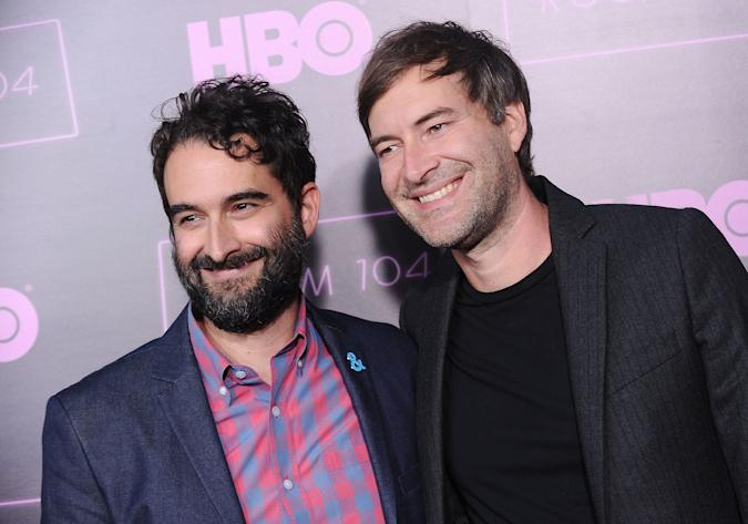 """HOLLYWOOD, CA - JULY 27:  Jay Duplass and Mark Duplass attend the premiere of """"Room 104"""" at Hollywood Forever on July 27, 2017 in Hollywood, California.  (Photo by Jason LaVeris/FilmMagic)"""